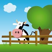 Vaca leiteira em um campo vetor