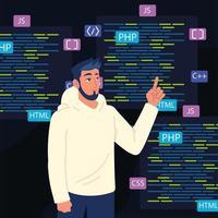 códigos man e html vetor