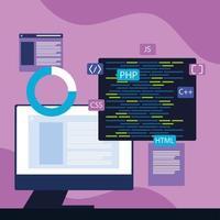desenvolvimento de computador e web vetor