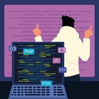 homem e laptop com códigos vetor