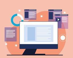 computador e sites vetor
