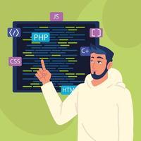 programador com códigos html vetor