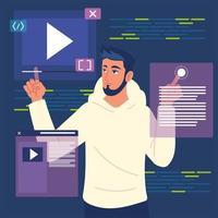 programador com sites e códigos vetor