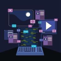 laptop e desenvolvimento web vetor