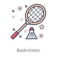 peteca de badminton com raquete vetor