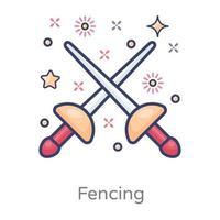 esgrima design de luta de espadas vetor