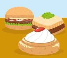 baklava, hambúrguer e sobremesa vetor