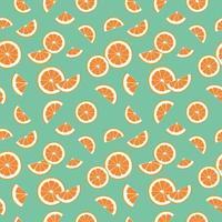 sem costura brilhante primavera e verão padrão com laranjas, tangerinas e fatias sobre um fundo verde. um conjunto de frutas cítricas para um estilo de vida saudável. ilustração em vetor plana de alimentos saudáveis
