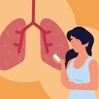 pulmões de mulher asmática vetor