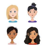 emoções diferentes de uma menina loira, morena e meninas de diferentes nacionalidades. expressões faciais de felicidade, tristeza, surpresa, alegria, angústia e raiva. com penteados lisos e encaracolados, cabelos curtos e longos, um coque. vetor