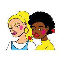 casal de garotas afro e loiras, moda, estilo pop art vetor