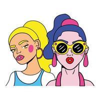 mulher de cabelo roxo e uma garota loira casal fashion estilo pop art vetor
