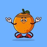 personagem de fruta laranja bonito. conceito de ícone de personagem de fruta de meditação isolado. adesivo de emoji. vetor de estilo cartoon plana