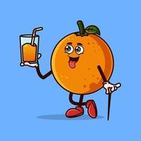personagem de fruta laranja bonito com suco de laranja na mão. conceito de ícone de personagem de fruta isolado. estilo cartoon plana vetor
