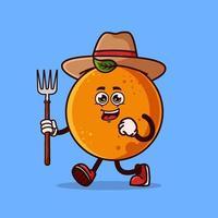 personagem de agricultor de fruta laranja bonito com forcado. conceito de ícone de personagem de fruta isolado. estilo cartoon plana vetor