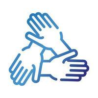 ícone de estilo gradiente de trabalho em equipe de mãos vetor