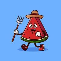 personagem de agricultor de fruta melancia bonito com forcado. conceito de ícone de personagem de fruta isolado. estilo cartoon plana vetor