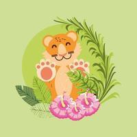 folhas tropicais de tigre vetor