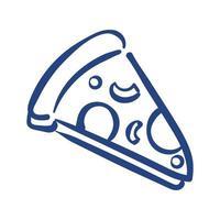 ícone de estilo de porção de pizza de forma livre vetor