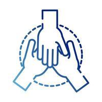 ícone de estilo gradiente de mãos em equipe vetor