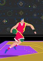 Corrida de drible de basquete vetor