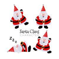 Fofa coleção de personagem de Papai Noel vetor