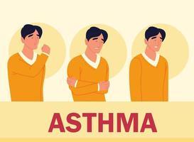 homem com asma vetor