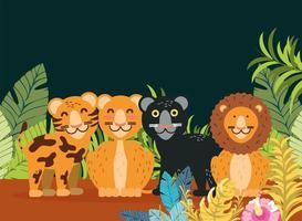 desenho animado de felinos tropicais vetor