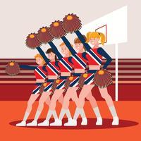 Líderes de torcida do ensino médio torcendo para os fãs nas arquibancadas durante um jogo de basquete homecoming vetor