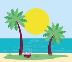 palmeiras de praia de verão vetor
