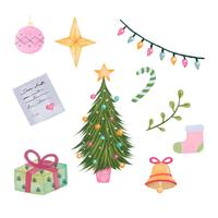 Coleção de elementos de Natal Vintage fofo vetor