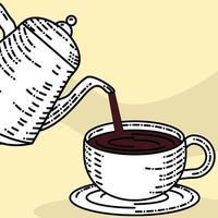 chaleira servindo café vetor
