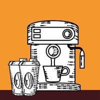 xícaras de cafeteira vetor