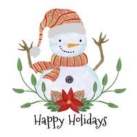 Boneco de neve bonito sorrindo com folhas vetor
