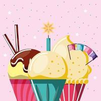 celebração de cupcakes de aniversário vetor