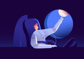 Astronout viagens para a ilustração de fundo de lua vetor