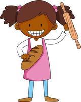 pequeno padeiro segurando o personagem de desenho animado de bolos isolado vetor