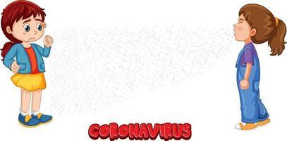 fonte coronavirus em estilo cartoon com uma garota olhando para a amiga espirrando isolado no fundo branco vetor