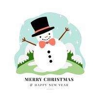 Bonitinho boneco de neve personagem sorrindo vetor