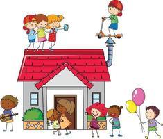 muitas crianças fazendo atividades diferentes pela casa vetor