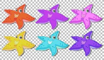 conjunto de muitos personagens de desenhos animados de estrela do mar sorridente vetor
