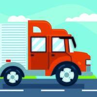 cidade de transporte de caminhão vetor