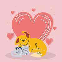animais de estimação amam desenho animado vetor