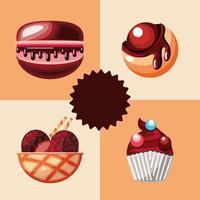 confeitaria sobremesa de chocolate vetor