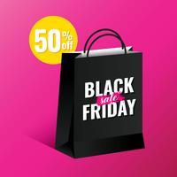 Saco de compras Black Friday Sale Design Template vetor