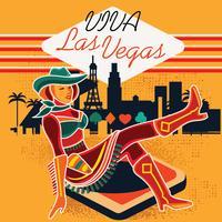 Sinal de néon de vaqueira em Las Vegas vetor