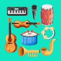 Instrumento de Música Knolling vetor