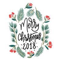 Folhas de Natal bonito com citação de Natal vetor
