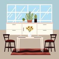 interior de jantar em casa vetor
