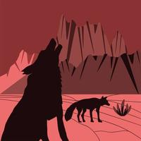 silhueta de lobos no deserto vetor